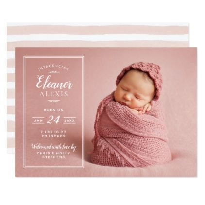 Modern Photo Overlay Baby Girl Birth Announcement - photos gifts - Baby Girl Birth Announcements