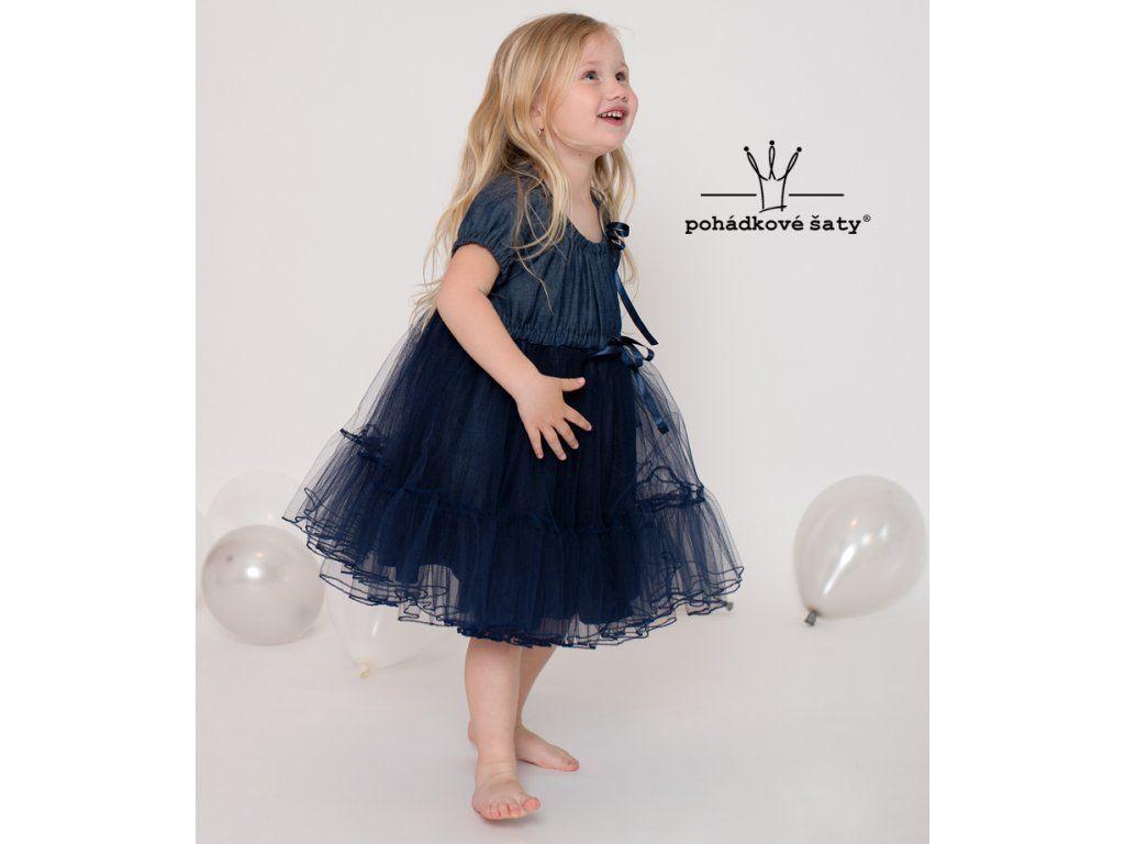 5a3161fe97ed Dětské riflové šaty - tmavěmodrý denim s tylovou sukýnkou. Cena od 2 129Kč.