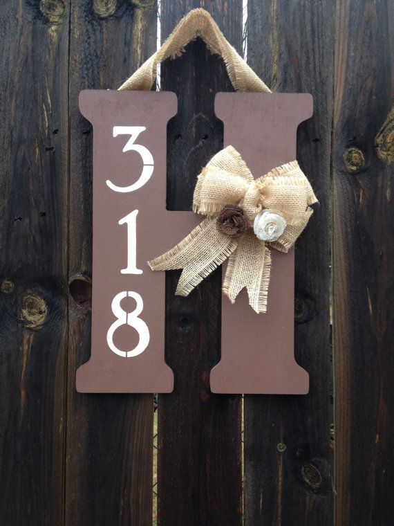 Monogram Door Hanger with Burlap Bow, Flowers, and Street Number.. one day :)
