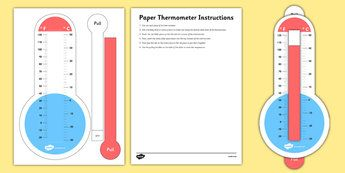 Fahrenheit And Celsius Paper Thermometer With Slider Fahrenheit