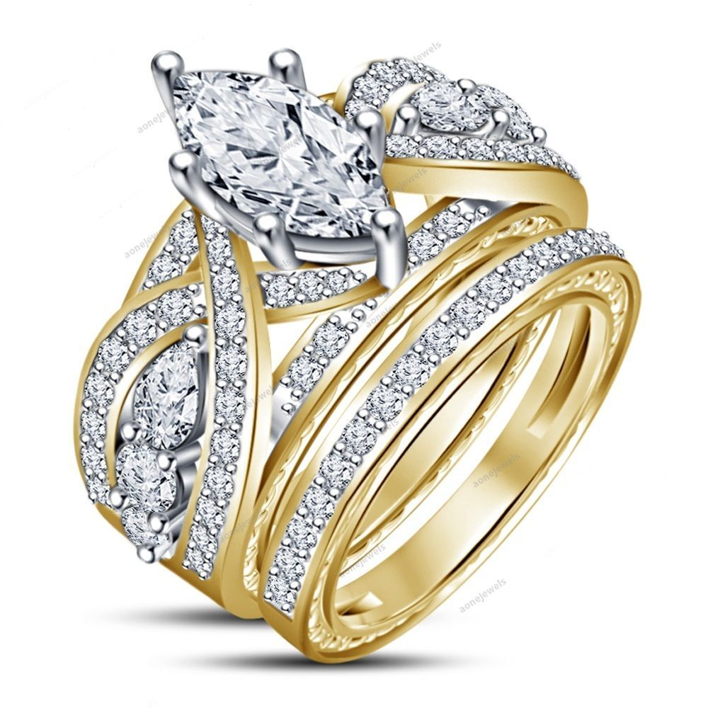 Surface Prong Setting 6 Prong Style Marquise Cut Unique Women's Bridal Ring Set #aonejewels