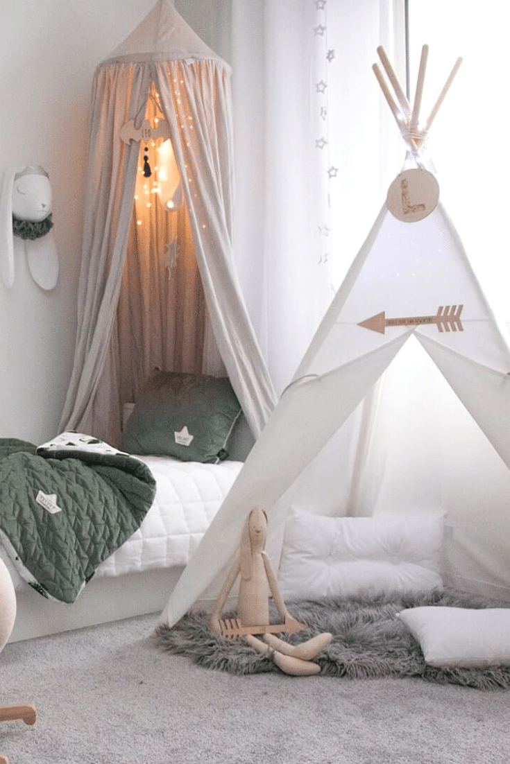 Namiot Dla Dzieci Tipi Bialy Teepee Kids White Tent Bedroom Canopy Tent Toddler Bed