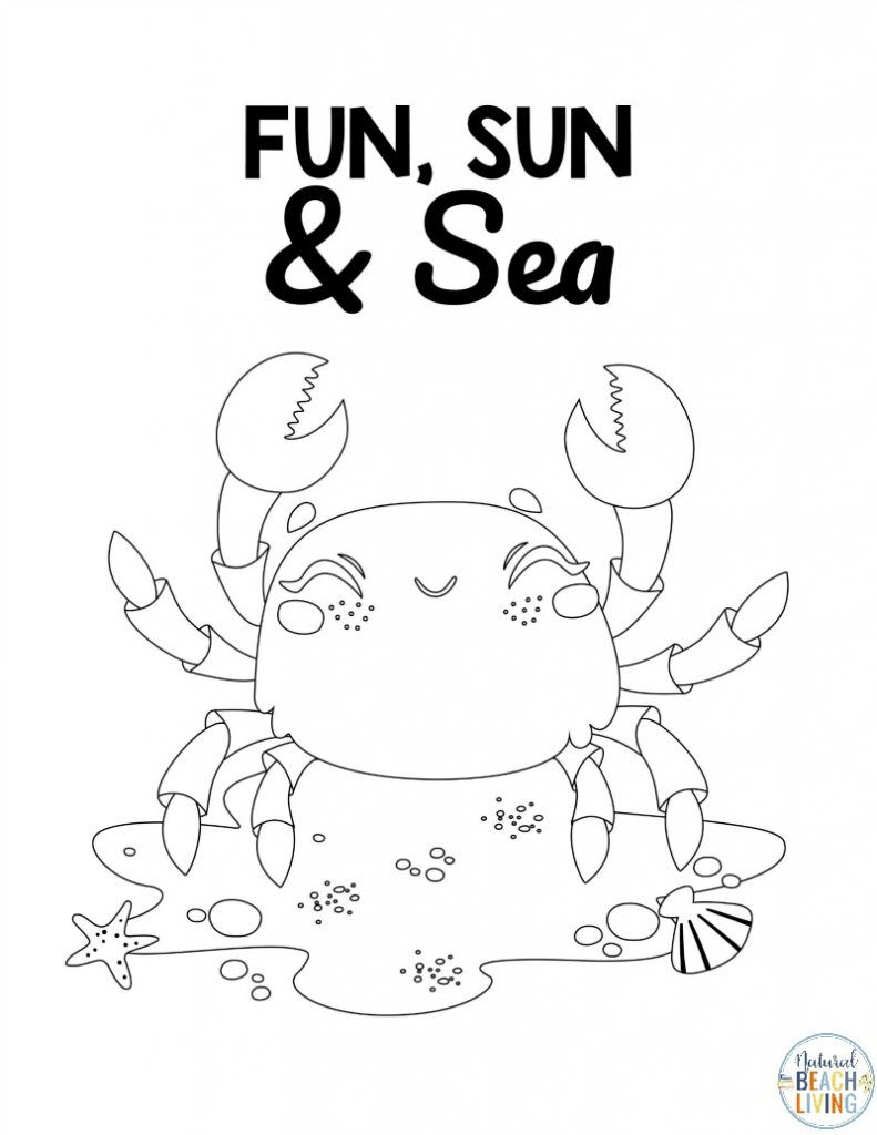 The Sea Side Coloring Page With Beach Ball For Kids