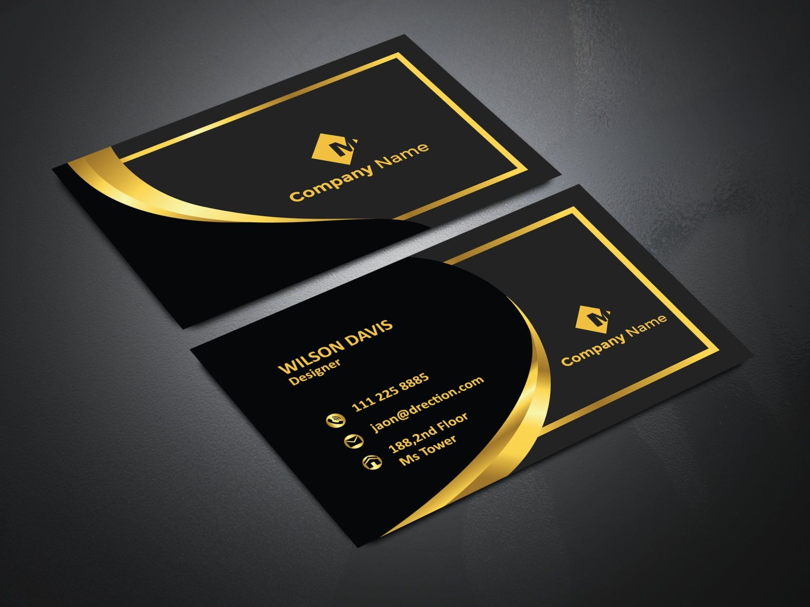 Black And Gold Luxury Business Card Design Business Card Design Luxury Business Cards Gold Business Card