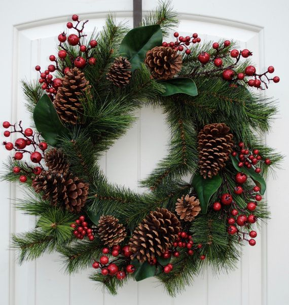 Winter Wreath~Farmhouse Wreath~Rustic Front Door Wreath with Pine, Lambs Ear and Red Berries~Pine cones~Christmas~Thanksgiving Decor