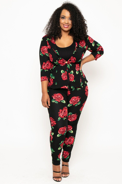 fa8047fefa8 Plus Size Flora 2 Piece Set - Black Trendy Plus Size Clothing