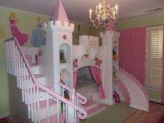 Camerette Disney ~ Cameretta per bambine principesse disney con lettino sagomato a