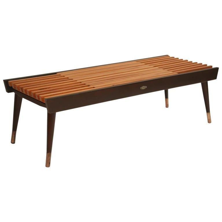 Extendable Slatted Wood Bench Or Coffee Table By Maruni 1950s Hiroshima Japan Wood Bench Modern Wood Bench Coffee Table
