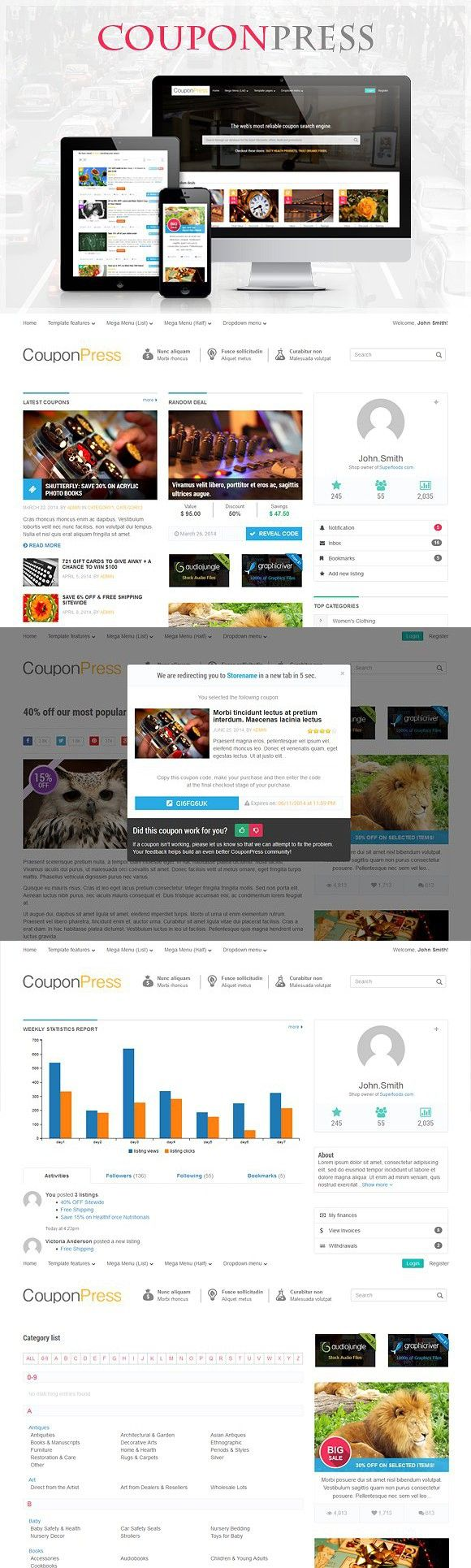 Couponpress Html Html5 Templates Bootstrap Template Html Css