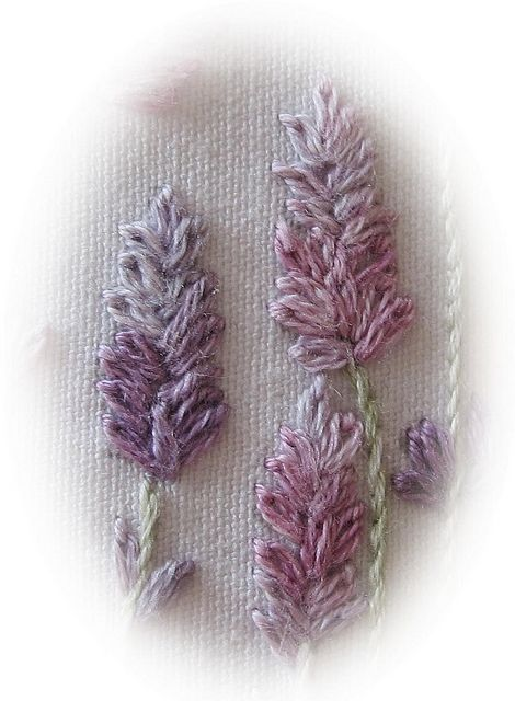 Lavender stitched with lazy daisy stitch Lorna Bateman.jpg | Flickr - Photo Sharing!