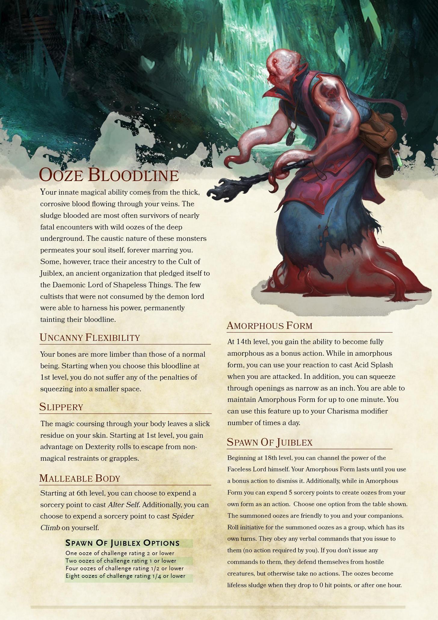 [5E] Sorcerer Bloodline: Ooze Blood In 2020