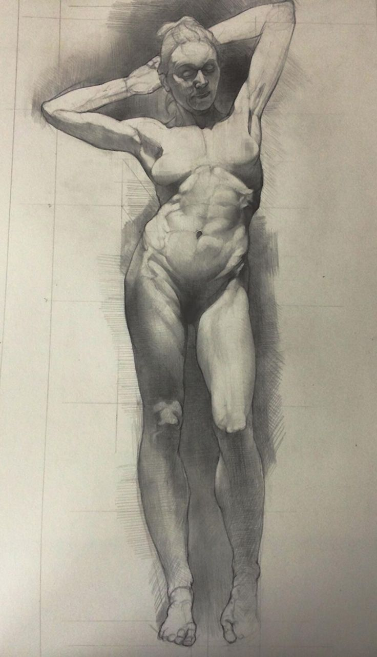 Contemporary figurative artist and sculptor sabin howard standing nude female figure study drawing nsfw