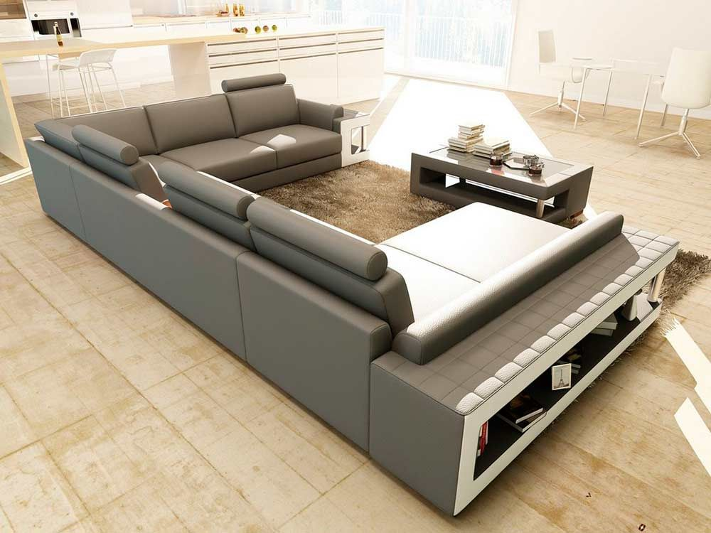 Grey And White Leather Sectional Sofa With Coffee Table Vg080 White Furniture Living Room Living Room Center White Sofa Design