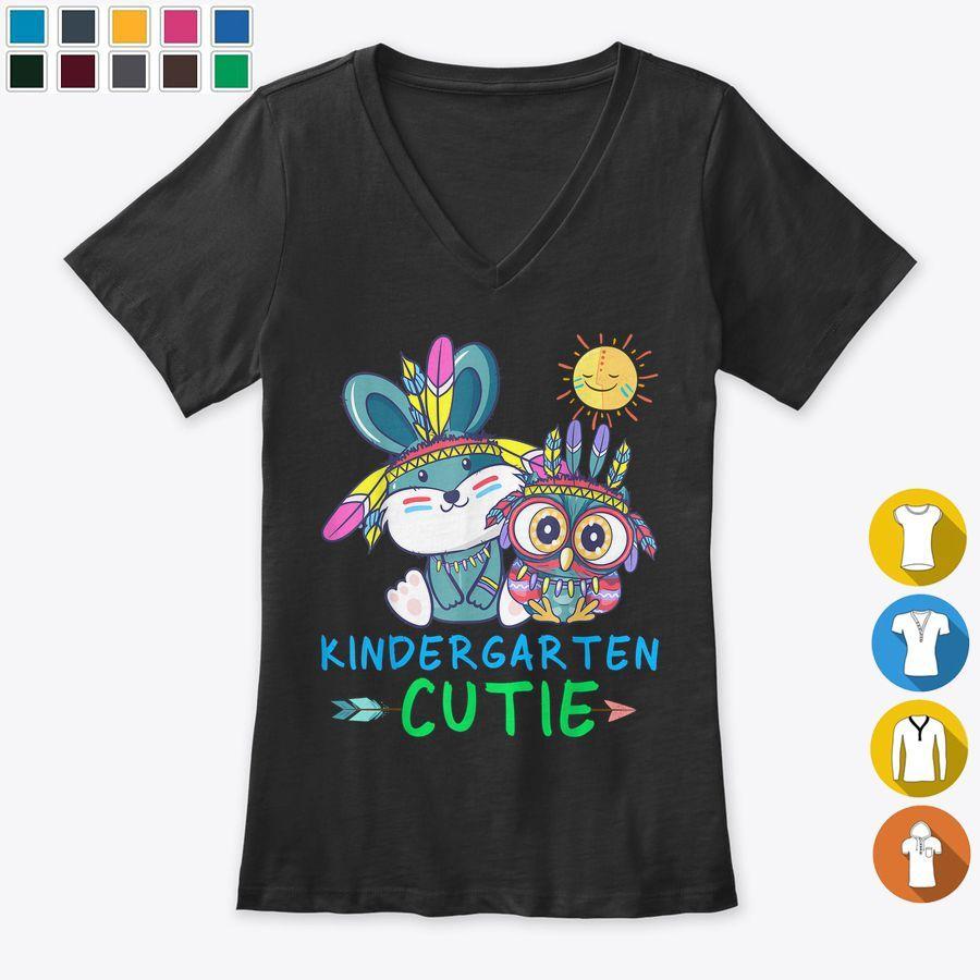 Kindergarten Cutie Bunny Owl Sun Back To School Kids Tshirt, Hoodies & Sweatshirts Unisex - Black (S, Cotton)