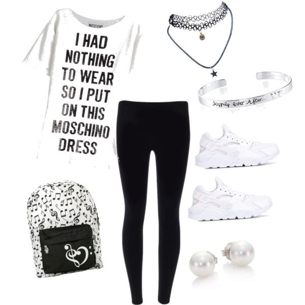 style by lashay4240 on Polyvore featuring polyvore fashion style Moschino NIKE Mikimoto Disney Wet Seal