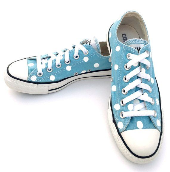 2b62a60e4f6c SKY BLUE Converse with Hand Painted White Polka Dots - Women s Size 7 - Men s  Size 5