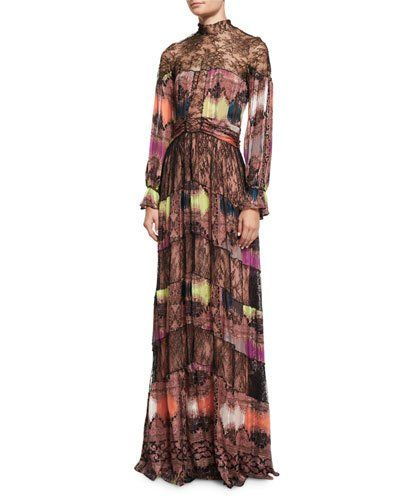 Lace-Neck Paisley-Diamond Gown, Pink