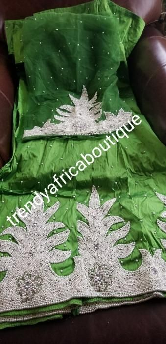 add8075c27c49b New arrival high quality Raw Silk Indian George wrapper/fabric. hand Stoned work  Nigerian women celebrant fabric. Sold 5yds 1.8yard matching net blouse.