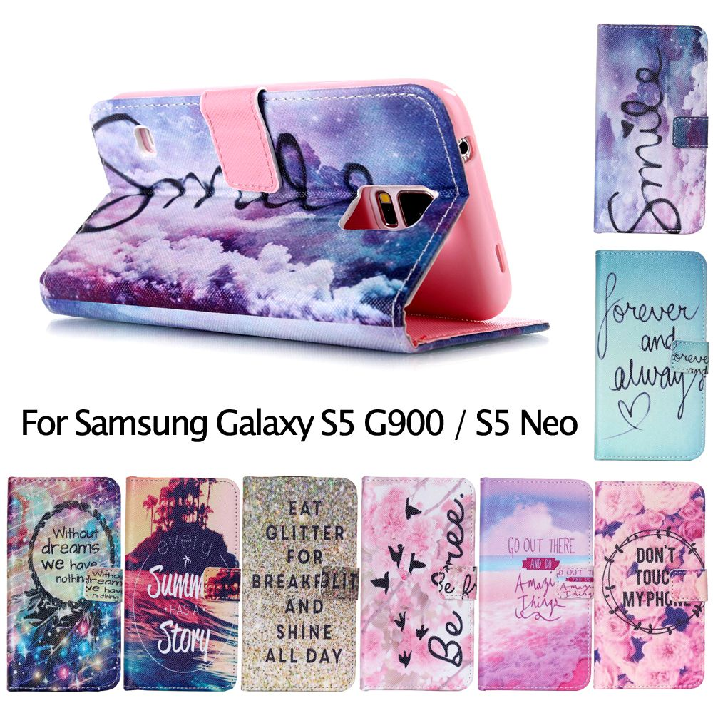 For Samsung Galaxy S5/S5 Neo Case Card Holder PU Leather Phone Cases Bag Cover Shell for Samsung Galaxy S 5 G900 / S 5 Neo