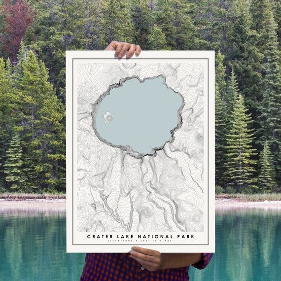 Crater Lake National Park Map Poster, Modern Minimalist Topographical Art Print of Crater Lake in 12 #craterlakenationalpark