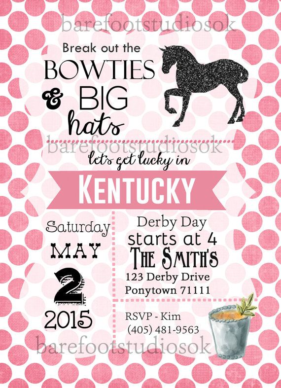 Kentucky Derby Party Invitation 5x7 Digital by BarefootStudiosOk