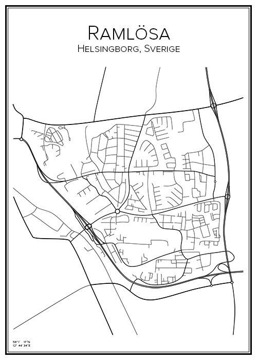 Karta Skane Tavla.Ramlosa I 2019 City Prints City Map Och Poster