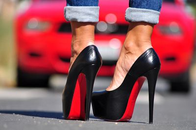 Red Christian Louboutins ; Red Ford Mustang