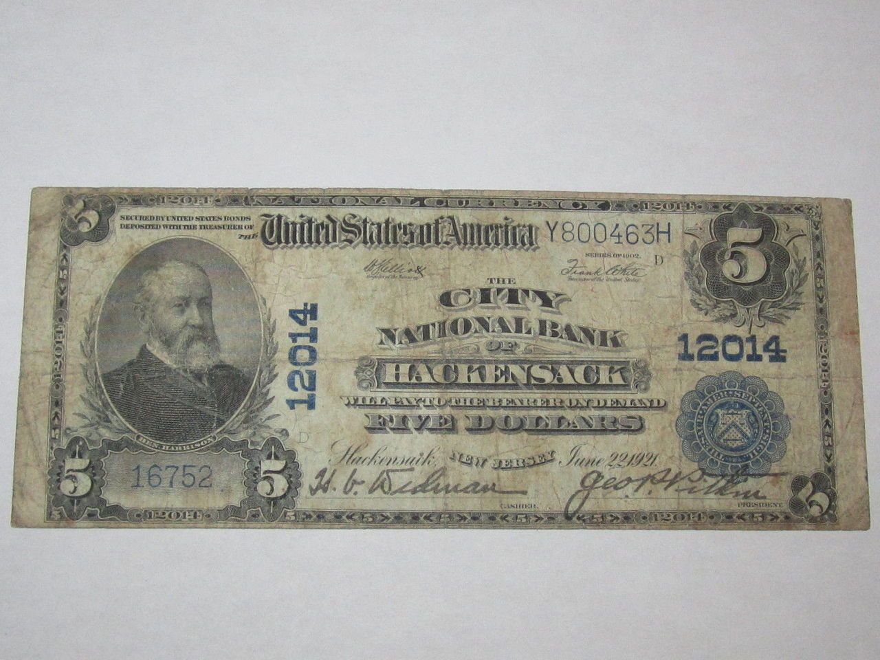 $5 1902 Hackensack New Jersey NJ National Currency Bank Note Bill! Ch. #12014 http://www.collectiblenotes.com/5-1902-hackensack-new-jersey-nj-national-currency-bank-note-bill-ch-12014/