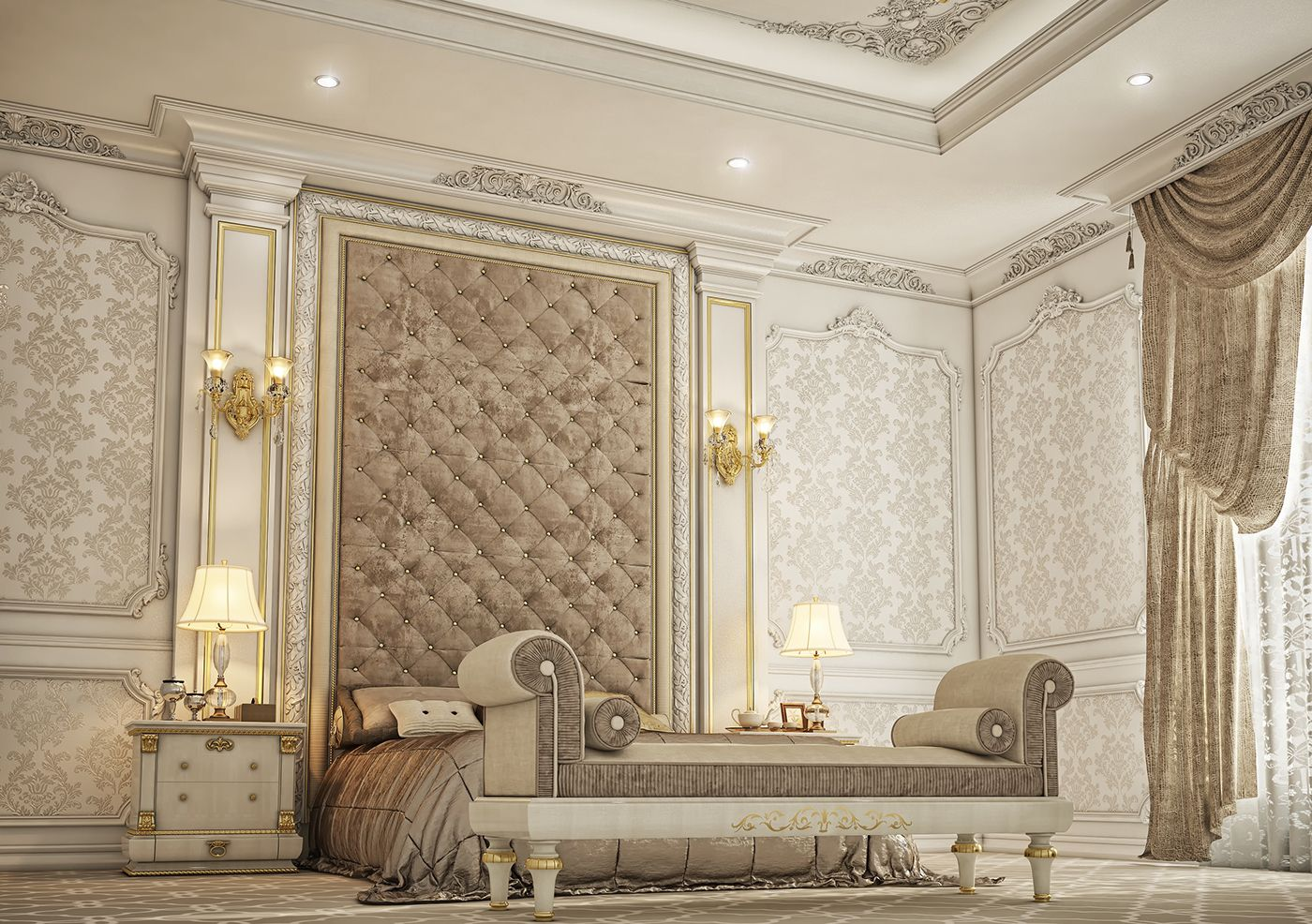 32 Stunning Luxury Master Bedroom Designs Photo Collection: Classic Master Bedroom , Private Villa Doha Qatar On