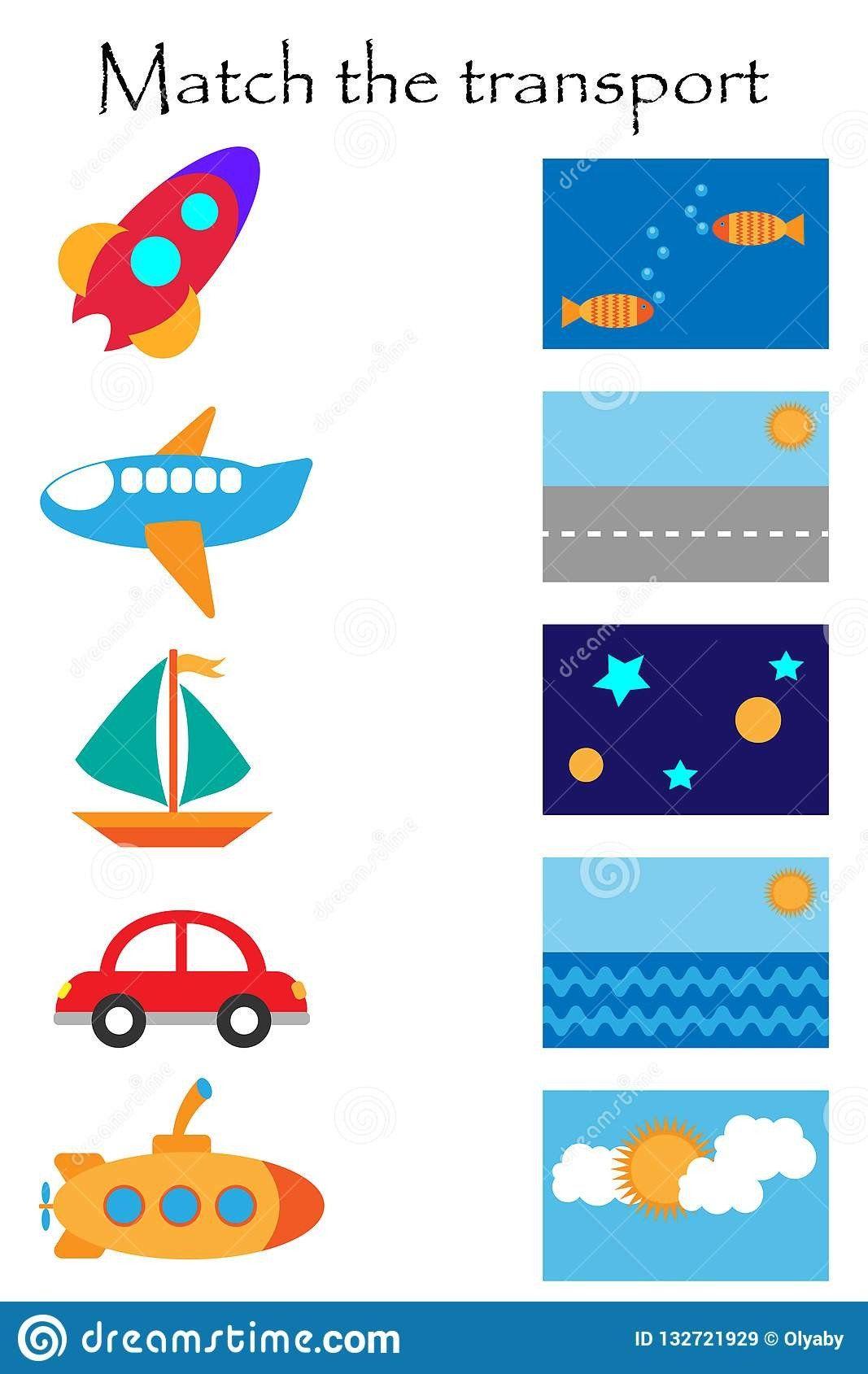Transportation Worksheet For Preschool Match The Transport
