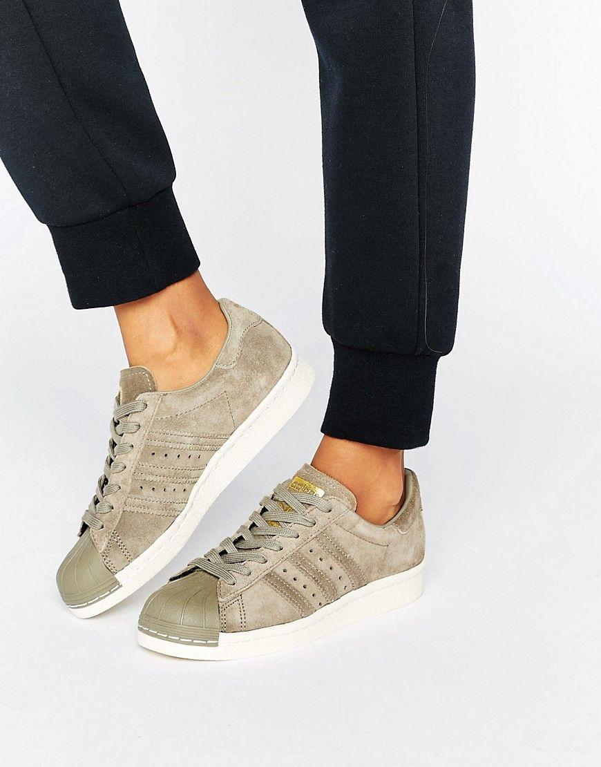 adidas Originals Khaki Superstar 80s Sneakers Cream in