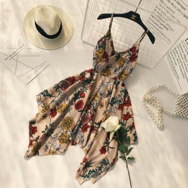 Floral Printed A-line V-neck Spaghetti Strap Pleated Asymmetric Dress – Kadın modası