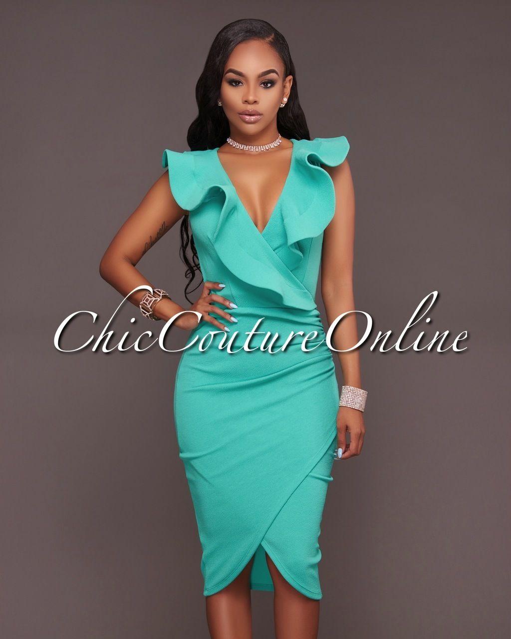 Chic Couture Online - Rachelle Mint Green Ruffle Midi Dress, (http ...