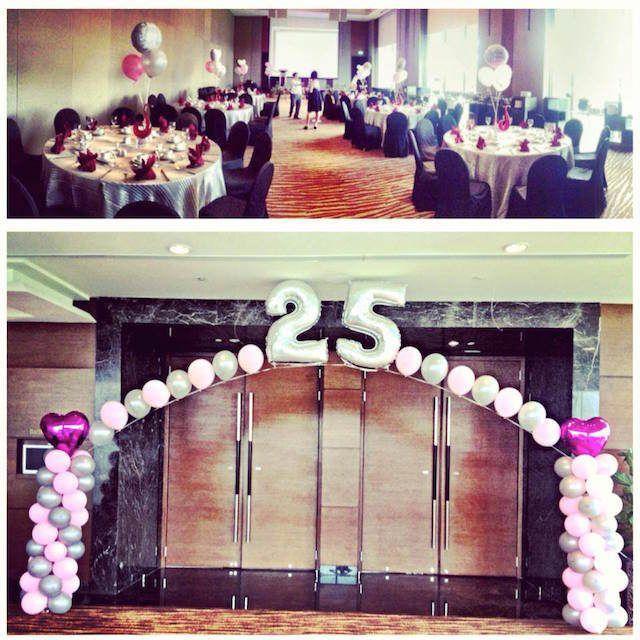 Decoraci n tem tica con globos para 25 aniversario de boda for Decoracion 40 aniversario de bodas