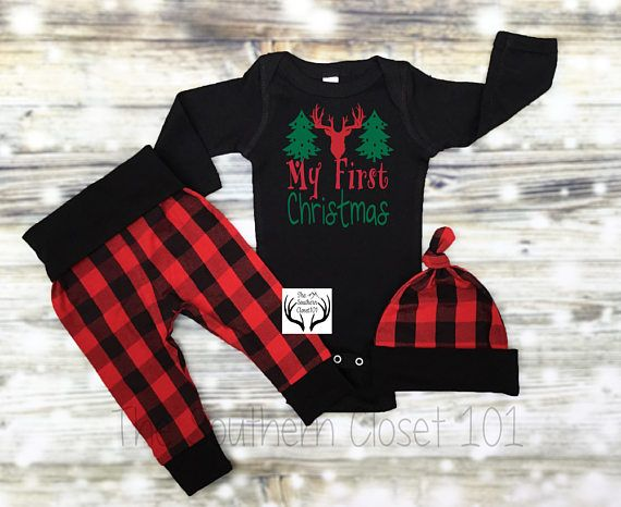 f3dfaf074 Baby Boys Christmas Outfit,My First Christmas,Newborn Boy Coming Home Outfit,  Buffalo Plaid, Red, Black,Baby Boy,Boy Coming Home Outfit,Boys