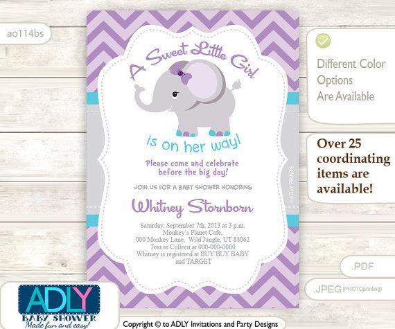 Purple Grey Turquoise Elephant Invitation For Girl Baby Shower Purpl Elephant Baby Shower Invitations Baby Shower Purple Baby Girl Shower Invitations Purple,Christina Anstead Tarek El Moussa