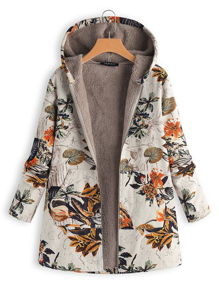 c75cdd2fa7a Leaves Floral Print Hooded Long Sleeve Vintage Coats