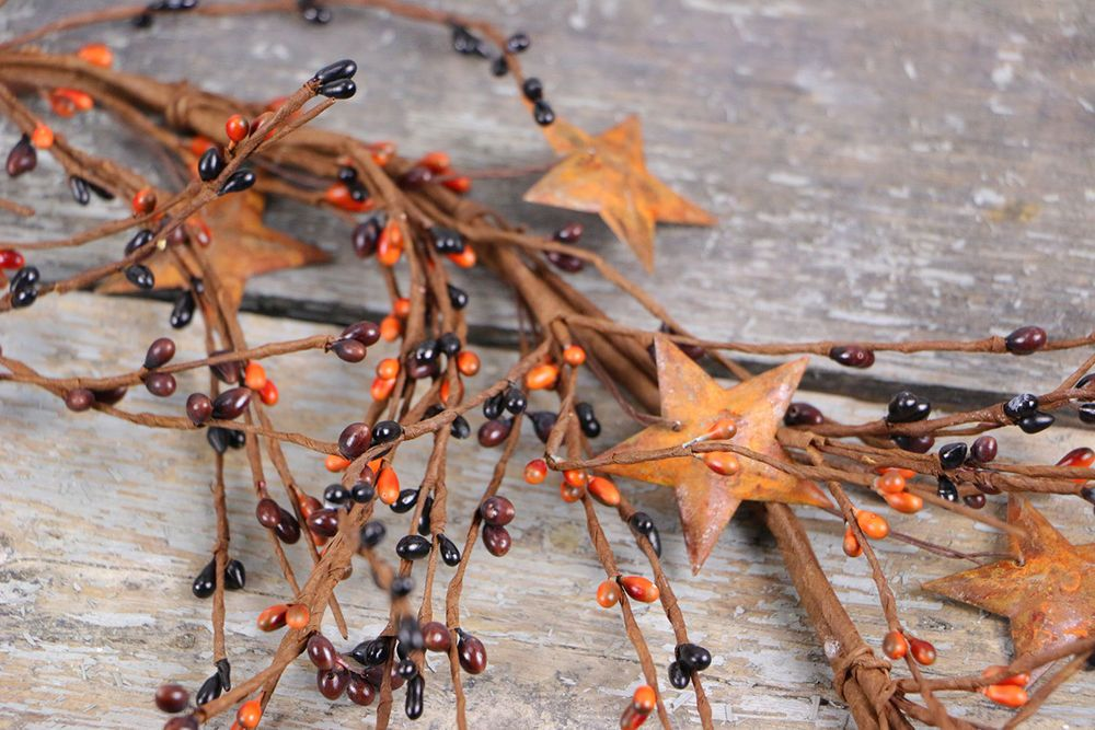 surprising Berry Garland With Stars Part - 20: Pip Berry Garland Primitive Mix with Rusty Stars 60 inch Olivias Heartland  NEW #OliviasHeartland