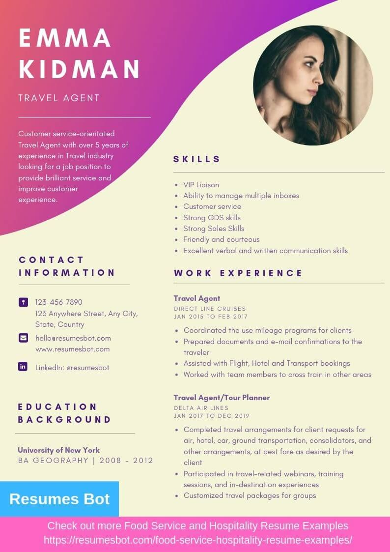 travel agent resume samples  u0026 templates  pdf doc  2019