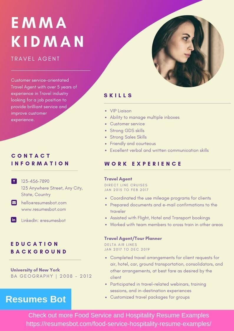 Travel Agent Resume Samples Templates Pdf Doc 2021 Travel Agent Resumes Bot Professional Resume Examples Resume Examples Free Resume Examples