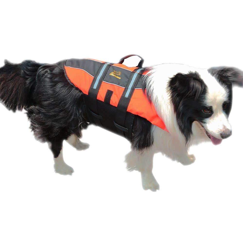 Dog life jacket with reflective strips for dogs bright