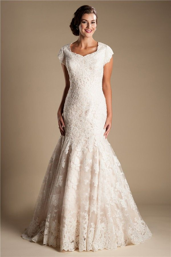Popular Modest Mermaid Cap Sleeve Champagne Color Lace Wedding Dress With Tiered Train