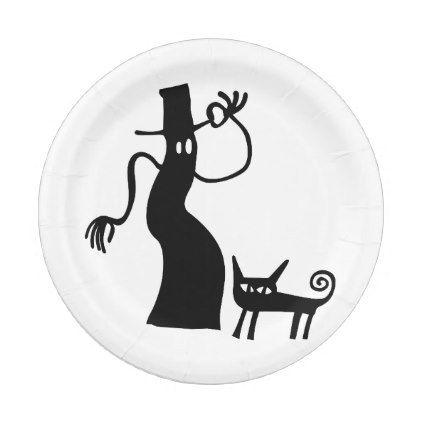 Halloween Spooky Ghost Black Cat Silhouette Paper Plate - halloween - halloween decorations black cat