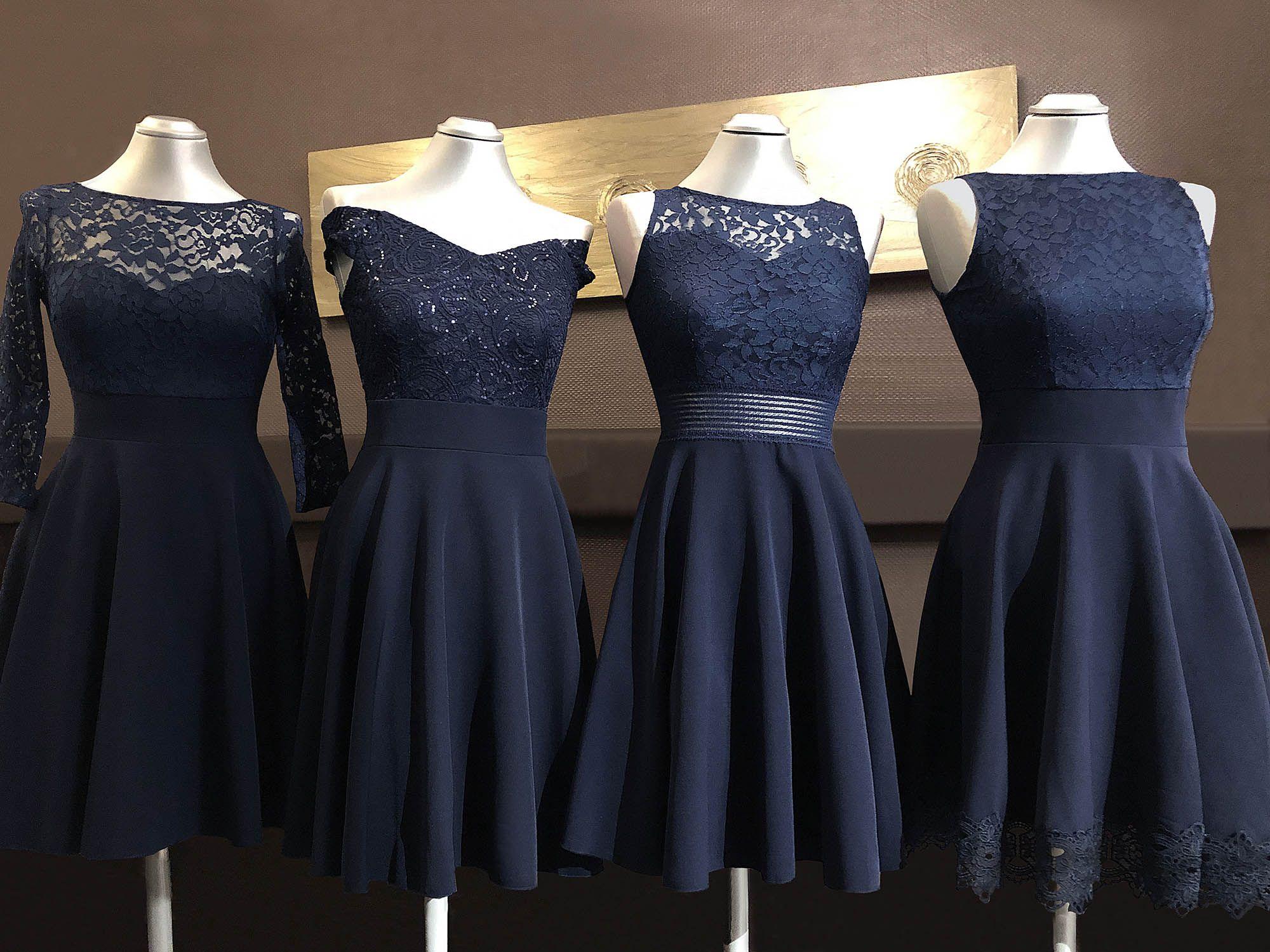 Konfirmation Kleid Blau Spitze kurze lange Ärmel Ärmellos in 13