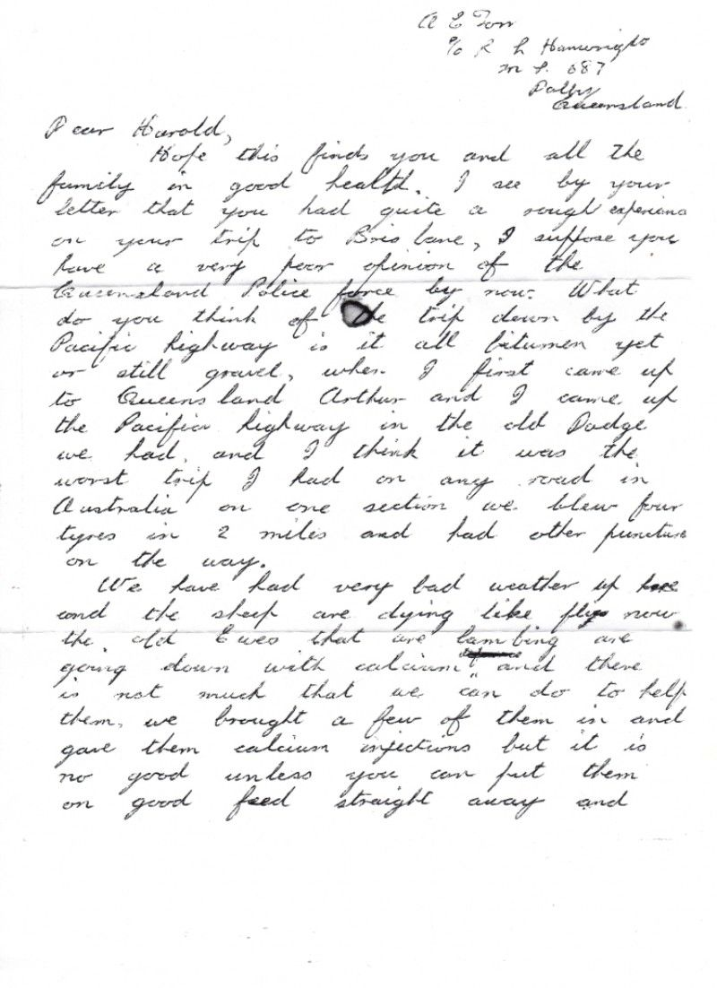 Tough Condition In Qld, During Family Roadtrip, 1956 Letter To A Friend  Describing