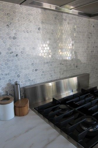 hex marble backsplash This is going in the kitchen Fun things