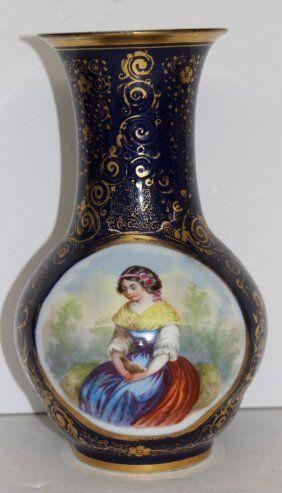 """Antique Old Paris Cobalt Blue Porcelain Vase. Measures - 10 1/2"""" high x 6"""" diameter."""