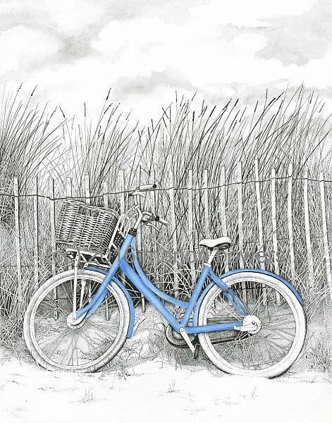 """Beach Bike by Marjorie Bowers. Original pen & ink drawing ..."