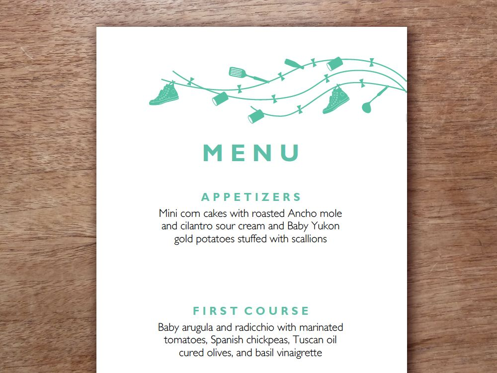 Easily make your own wedding menus. Just enter your menu text ...