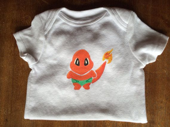 Pokemon inspired Charmander Baby 12 month unisex baby Onesie on Etsy, $12.00